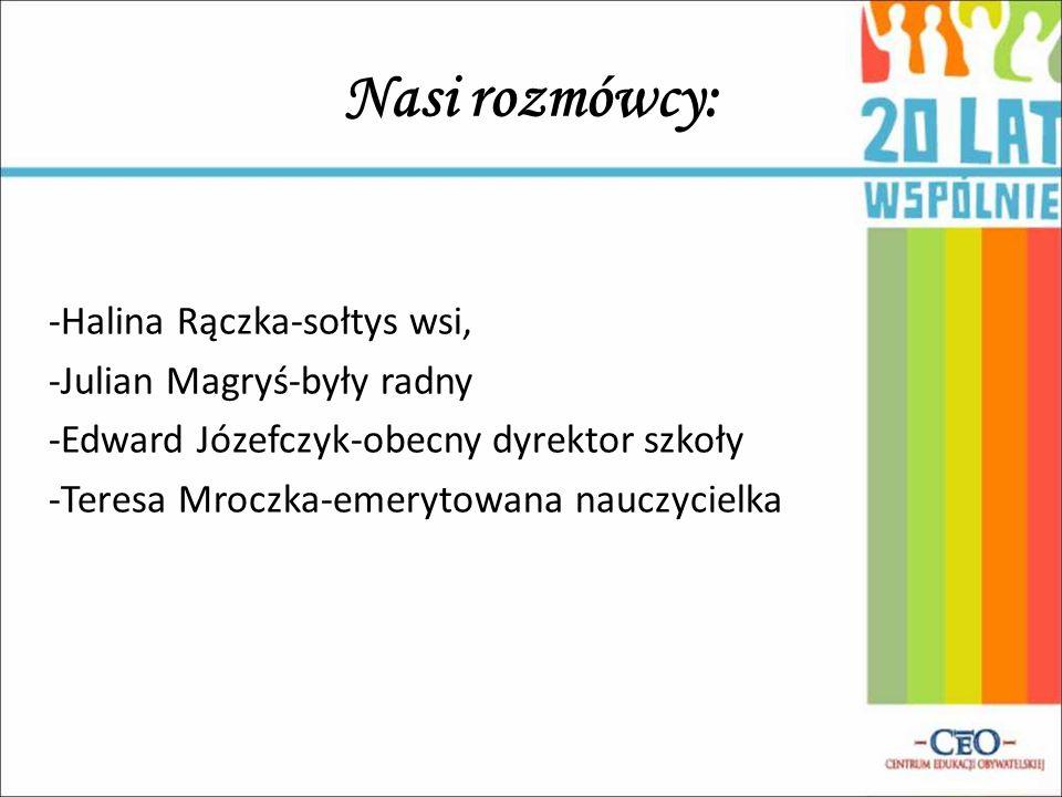 Nasi rozmówcy: -Halina Rączka-sołtys wsi, -Julian Magryś-były radny -Edward Józefczyk-obecny dyrektor szkoły -Teresa Mroczka-emerytowana nauczycielka
