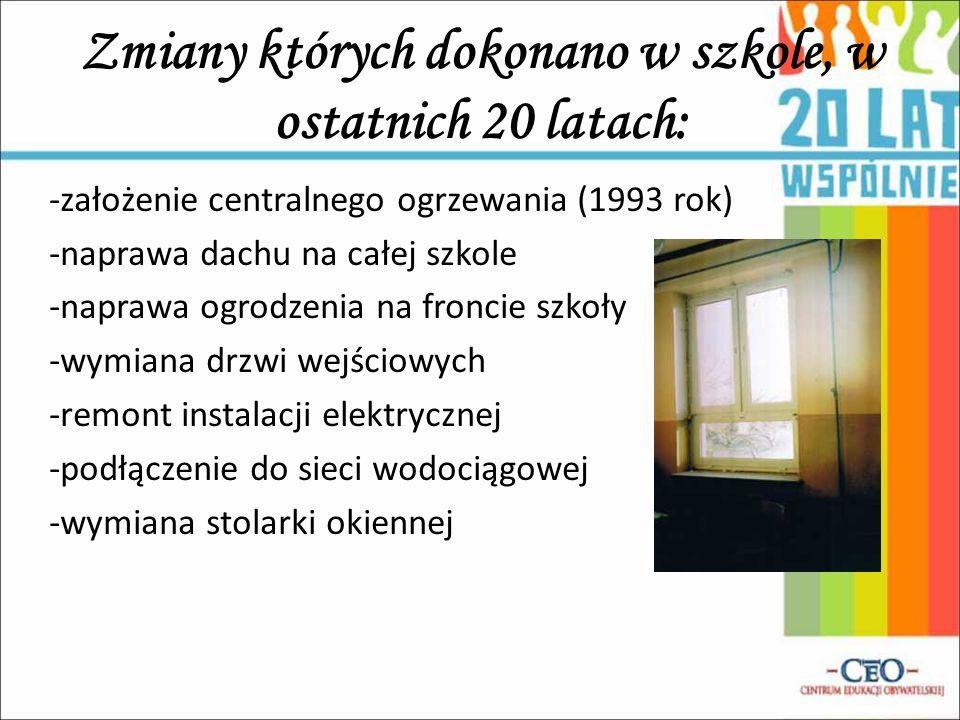 Zmiany których dokonano w szkole, w ostatnich 20 latach: -założenie centralnego ogrzewania (1993 rok) -naprawa dachu na całej szkole -naprawa ogrodzen
