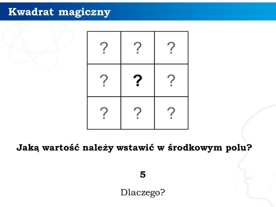 Kwadrat magiczny Zapisujemy sumy liczb: w drugim wierszu: (d + e + f) w drugiej kolumnie: (b + e + h) na przekątnych: (a + e + i) + (g + e + c).