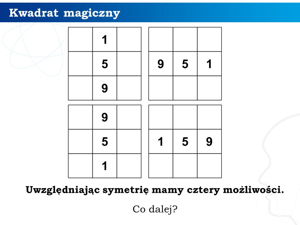 Kwadrat magiczny 9 Uwzględniając symetrię mamy cztery możliwości. Co dalej?