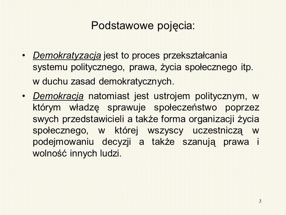 3 Podstawowe pojęcia: Demokratyzacja jest to proces przekształcania systemu politycznego, prawa, życia społecznego itp.