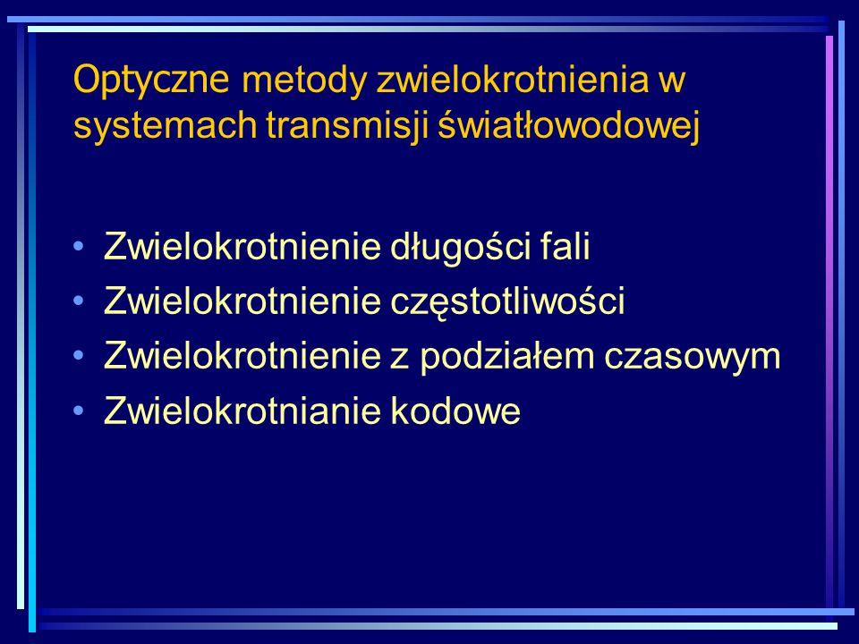 Okna transmisyjne DWDM (ITU-T G.983.3) O (1260 ÷ 1360 nm) E (1360 ÷ 1460 nm) S (1460 ÷ 1530 nm) C (1530 ÷ 1560 nm) L (1560 ÷ 1625 nm) jeszcze nie określone – dla przyszłych zastosowań