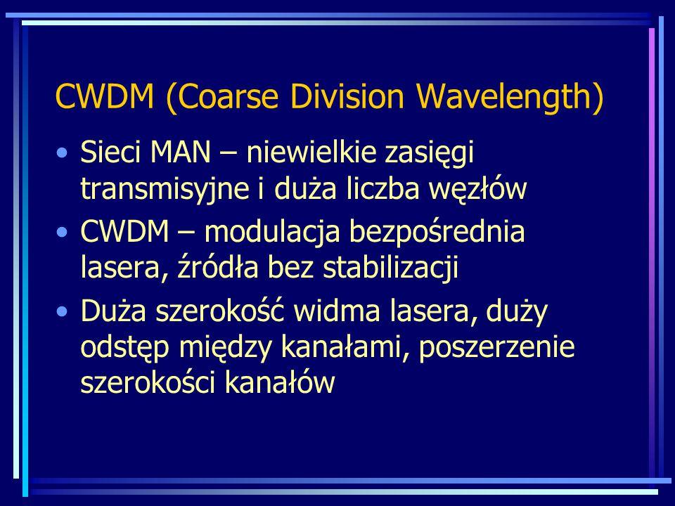 CWDM (Coarse Division Wavelength) Sieci MAN – niewielkie zasięgi transmisyjne i duża liczba węzłów CWDM – modulacja bezpośrednia lasera, źródła bez st