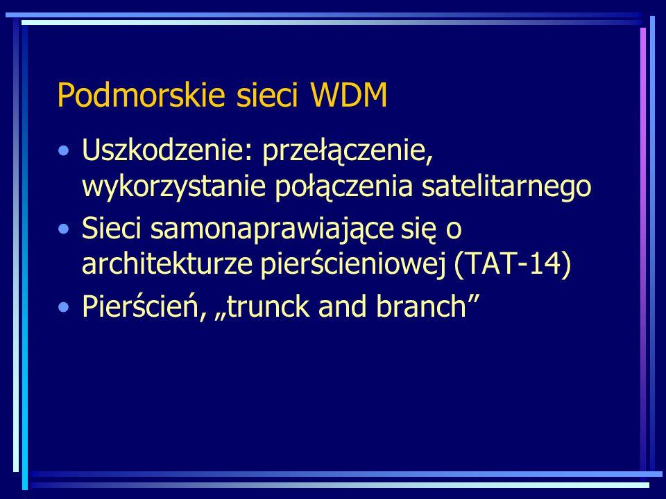Podmorskie sieci WDM Uszkodzenie: przełączenie, wykorzystanie połączenia satelitarnego Sieci samonaprawiające się o architekturze pierścieniowej (TAT-