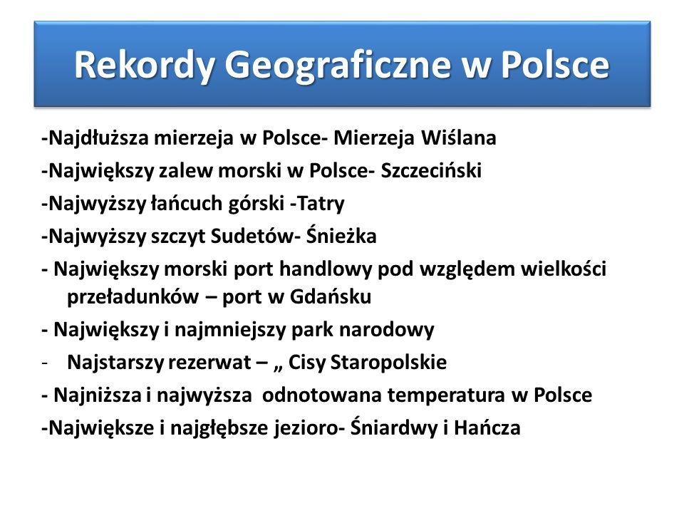 """Rekordy Geograficzne w Polsce -Najdłuższa mierzeja w Polsce- Mierzeja Wiślana -Największy zalew morski w Polsce- Szczeciński -Najwyższy łańcuch górski -Tatry -Najwyższy szczyt Sudetów- Śnieżka - Największy morski port handlowy pod względem wielkości przeładunków – port w Gdańsku - Największy i najmniejszy park narodowy -Najstarszy rezerwat – """" Cisy Staropolskie - Najniższa i najwyższa odnotowana temperatura w Polsce -Największe i najgłębsze jezioro- Śniardwy i Hańcza"""
