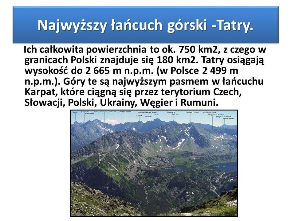 Najwyższy łańcuch górski -Tatry. Ich całkowita powierzchnia to ok. 750 km2, z czego w granicach Polski znajduje się 180 km2. Tatry osiągają wysokość d