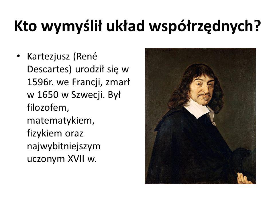 Kto wymyślił układ współrzędnych.Kartezjusz (René Descartes) urodził się w 1596r.