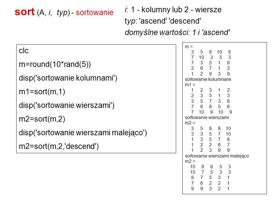 >> M=rand(3) M = 0.3404 0.7513 0.6991 0.5853 0.2551 0.8909 0.2238 0.5060 0.9593 >> size(M) ans = 3 3 >> Przykład
