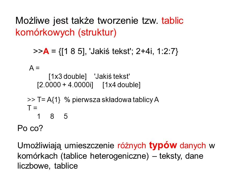 2x + 3y – 4z = 5 x + y – z = 3,5 –2,5y – z = 2 Rozwiązanie: A = [2 3 -4 ; 1 1 -1 ; 0 -2.5 -1] B = [ 5 ; 3.5 ; 2] X= A^(-1)*Bwektor rozwiązań sprawdzenie – wynikiem powinien być wektor wyrazów wolnych B A*X Rozwiązywanie układu równań liniowych