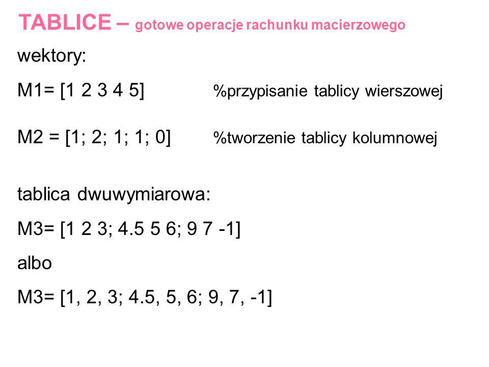 TABLICE – gotowe operacje rachunku macierzowego wektory: M1= [1 2 3 4 5] %przypisanie tablicy wierszowej M2 = [1; 2; 1; 1; 0] %tworzenie tablicy kolum