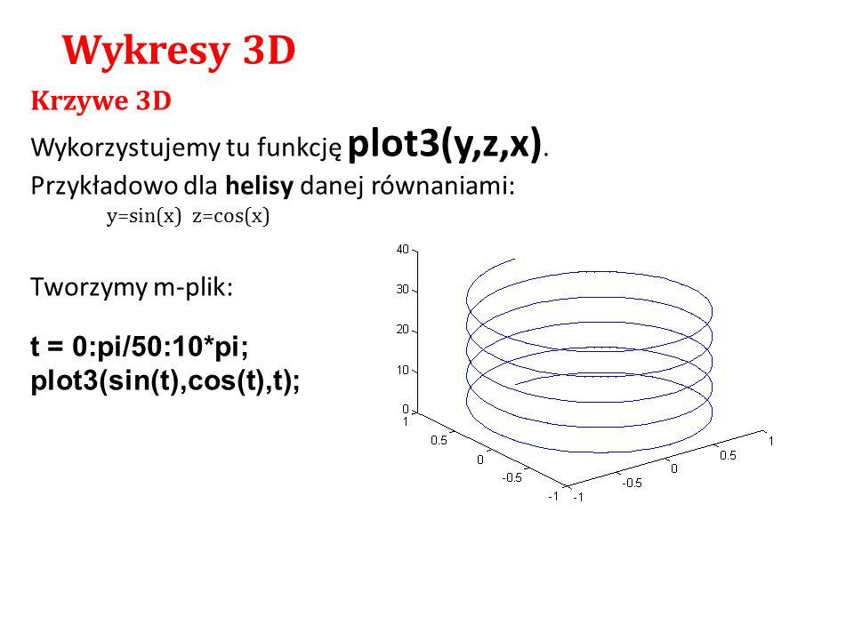 Krzywe 3D Wykorzystujemy tu funkcję plot3(y,z,x). Przykładowo dla helisy danej równaniami: y=sin(x)z=cos(x) Tworzymy m-plik: t = 0:pi/50:10*pi; plot3(