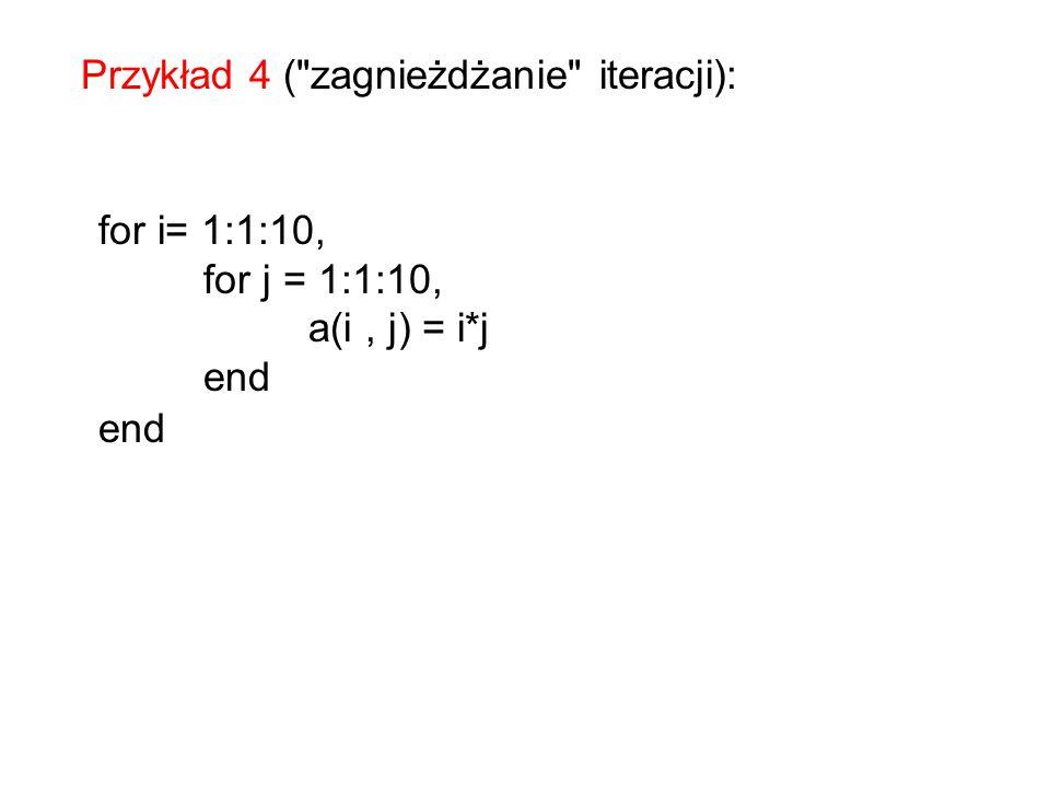 a=0; suma = 0; for i= 1:1:5, for j = 1:1:5, a(i, j) = 2*i - 4* j, pause, %zatrzymuje do naciśnięcia klawisza suma=suma+a(i, j); end disp(suma) Przykład 5 (sumowanie elementów w tablicy dwuwymiarowej):