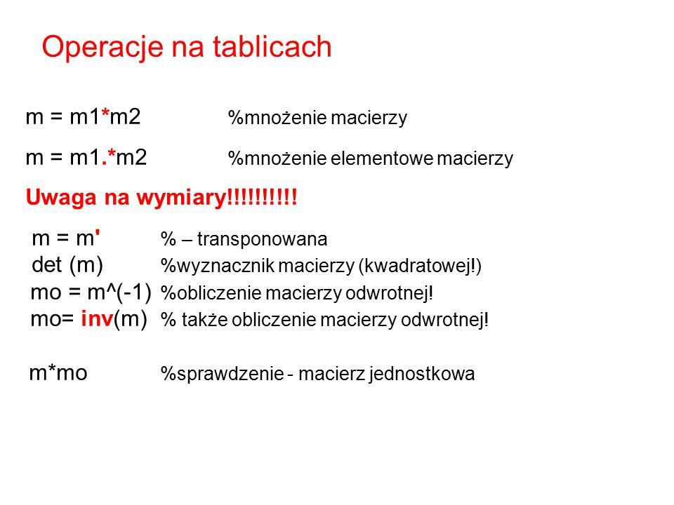 m = m1*m2 %mnożenie macierzy m = m1.*m2 %mnożenie elementowe macierzy Uwaga na wymiary!!!!!!!!!! m = m' % – transponowana det (m) %wyznacznik macierzy