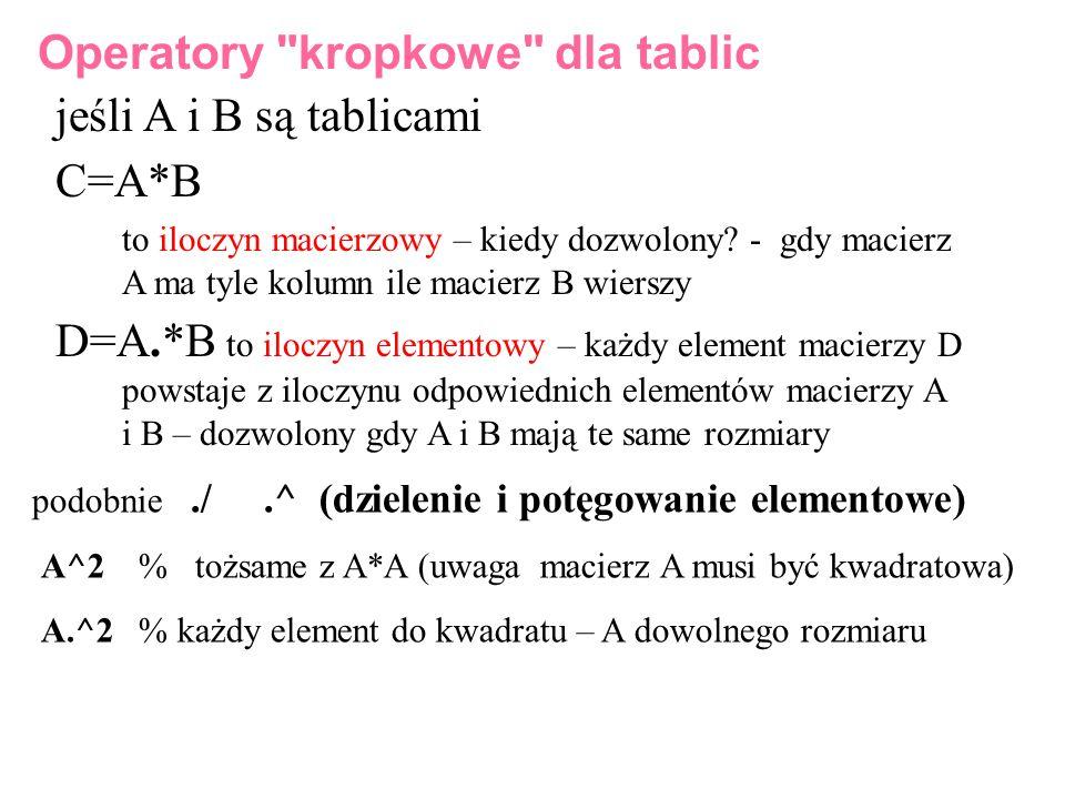 jeśli A i B są tablicami C=A*B to iloczyn macierzowy – kiedy dozwolony? - gdy macierz A ma tyle kolumn ile macierz B wierszy D=A.*B to iloczyn element