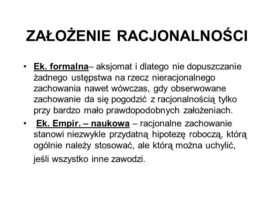 ZAŁOŻENIE RACJONALNOŚCI Ek.