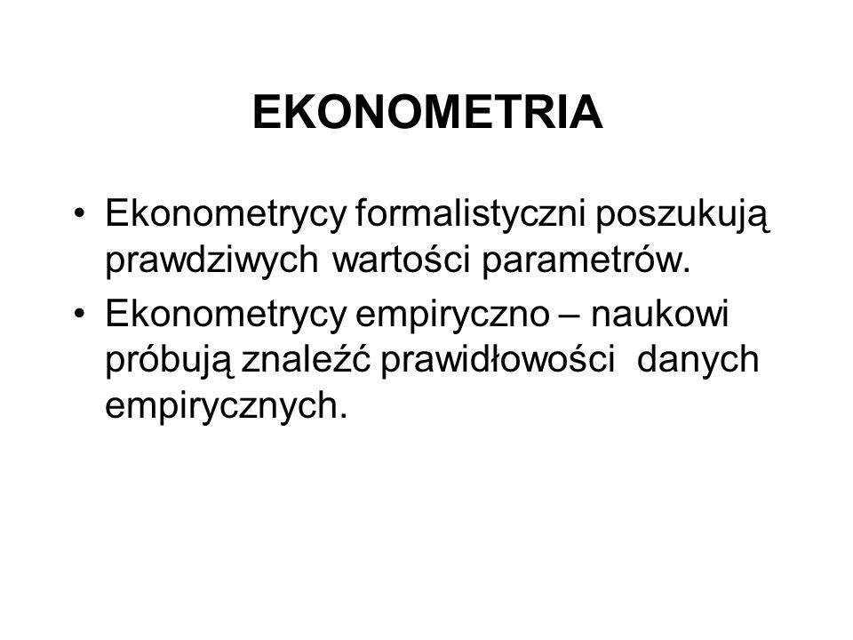 EKONOMETRIA Ekonometrycy formalistyczni poszukują prawdziwych wartości parametrów.