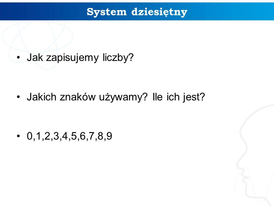 System dziesiętny Jak zapisujemy liczby? Jakich znaków używamy? Ile ich jest? 0,1,2,3,4,5,6,7,8,9 3