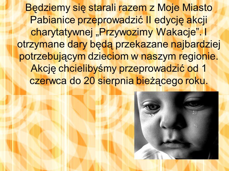 """Będziemy się starali razem z Moje Miasto Pabianice przeprowadzić II edycję akcji charytatywnej """"Przywozimy Wakacje ."""