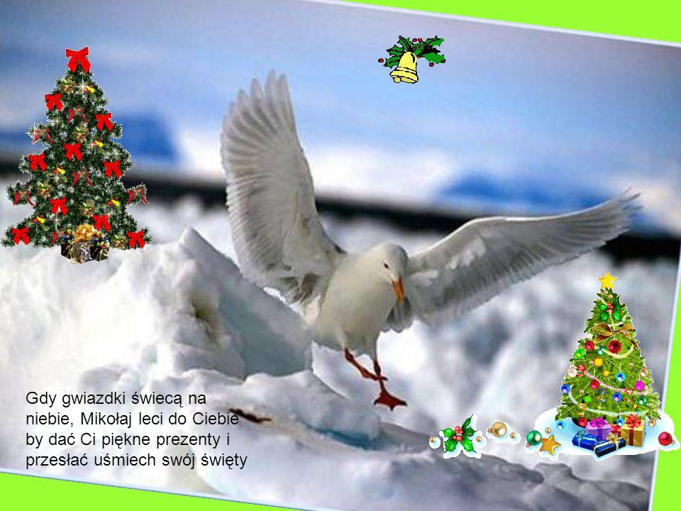 Gdy gwiazdki świecą na niebie, Mikołaj leci do Ciebie by dać Ci piękne prezenty i przesłać uśmiech swój święty