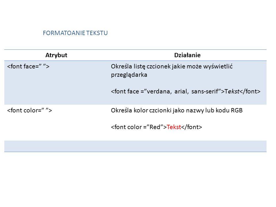 AtrybutDziałanie Określa listę czcionek jakie może wyświetlić przeglądarka Tekst Określa kolor czcionki jako nazwy lub kodu RGB Tekst FORMATOANIE TEKSTU