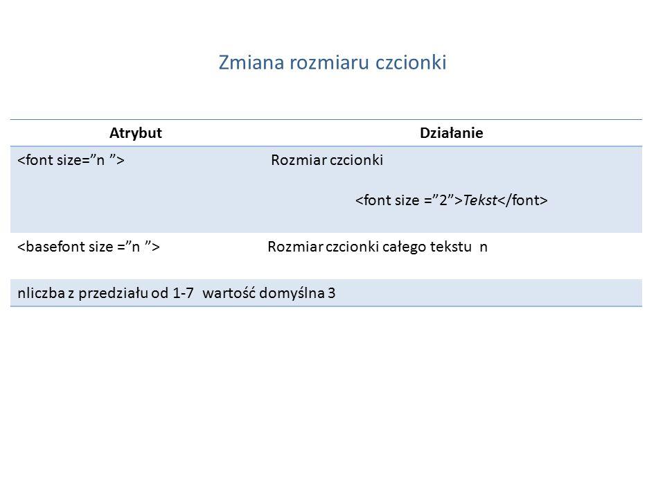 Zmiana rozmiaru czcionki AtrybutDziałanie Rozmiar czcionki Tekst Rozmiar czcionki całego tekstu n nliczba z przedziału od 1-7 wartość domyślna 3