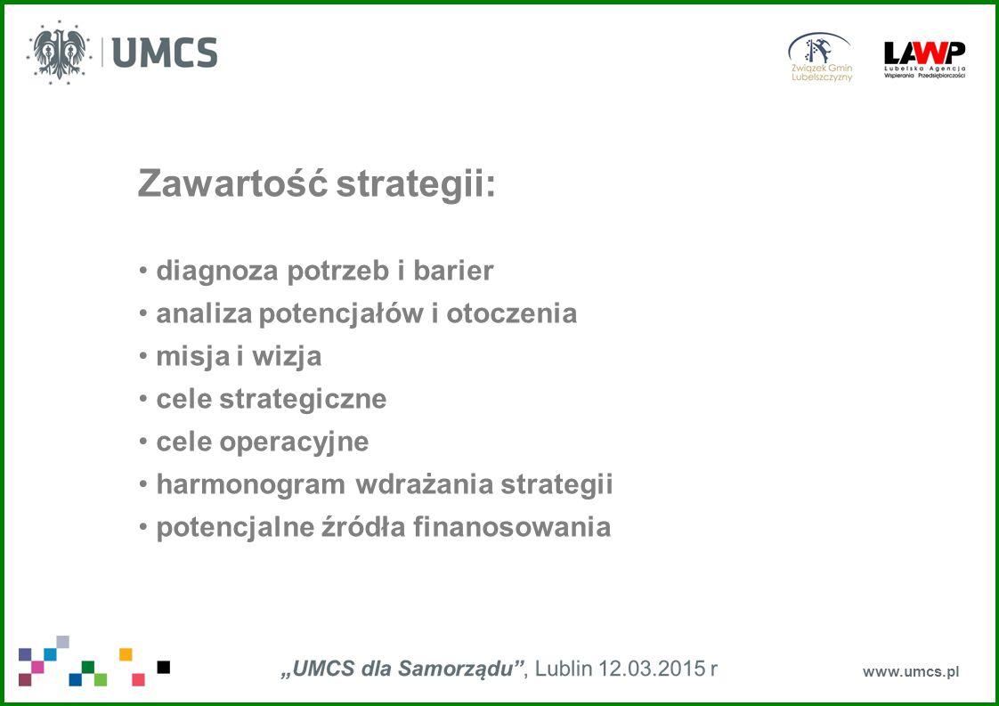 www.umcs.pl Zawartość strategii: diagnoza potrzeb i barier analiza potencjałów i otoczenia misja i wizja cele strategiczne cele operacyjne harmonogram
