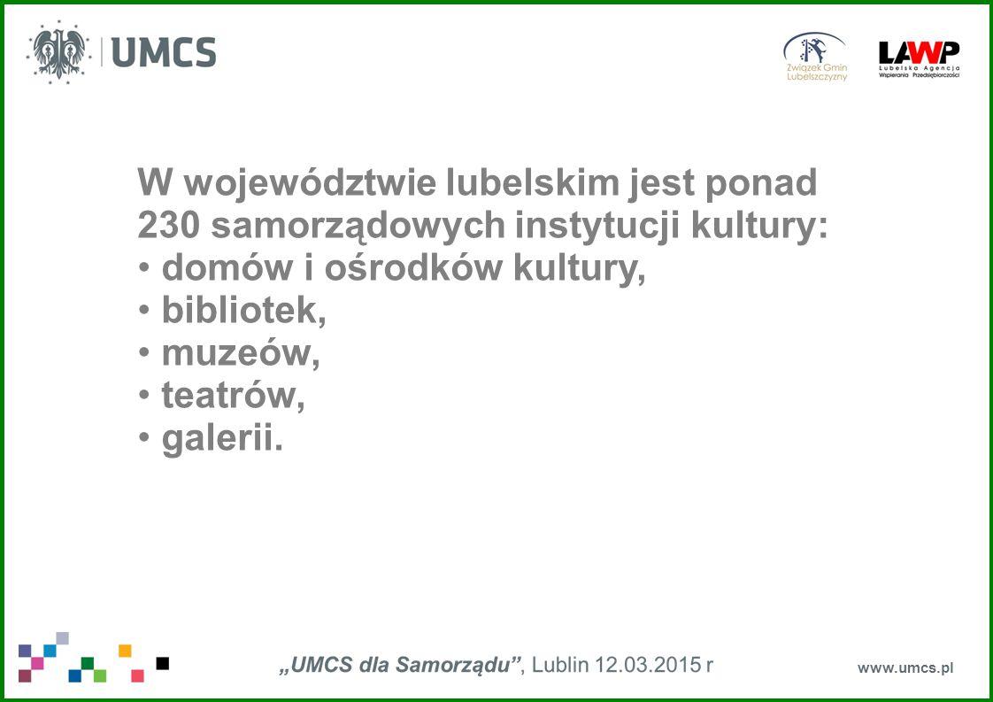www.umcs.pl W województwie lubelskim jest ponad 230 samorządowych instytucji kultury: domów i ośrodków kultury, bibliotek, muzeów, teatrów, galerii.