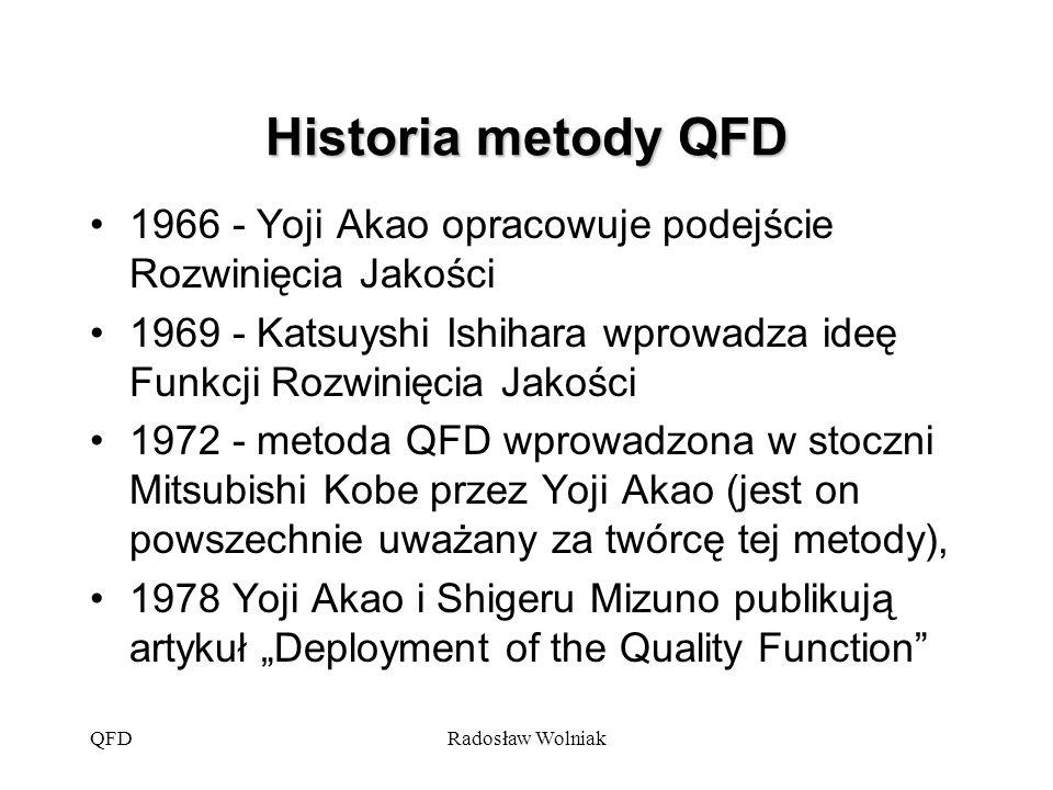 """QFDRadosław Wolniak Historia metody QFD 1984 lub 1986 - metoda zastosowana w USA przez firmy Ford i Xerox 1988 Publikacja artykułu """"The House of Quality dotyczącego QFD w Harward Business Review przez J."""