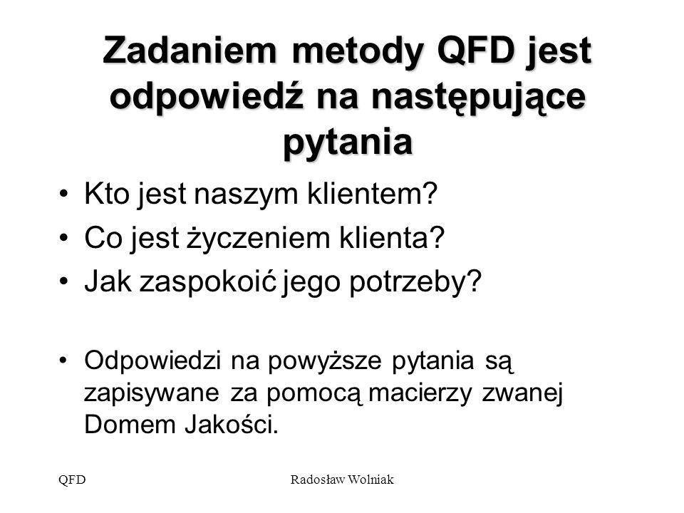 QFDRadosław Wolniak Zadaniem metody QFD jest odpowiedź na następujące pytania Kto jest naszym klientem? Co jest życzeniem klienta? Jak zaspokoić jego