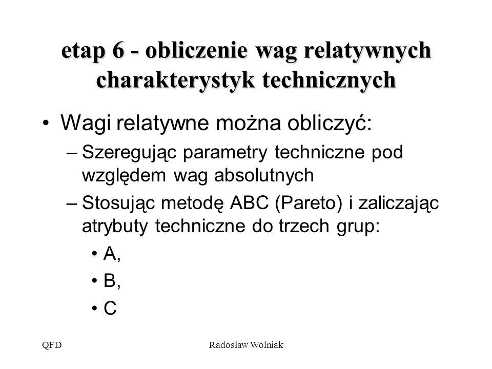 QFDRadosław Wolniak etap 6 - obliczenie wag relatywnych charakterystyk technicznych Wagi relatywne można obliczyć: –Szeregując parametry techniczne po