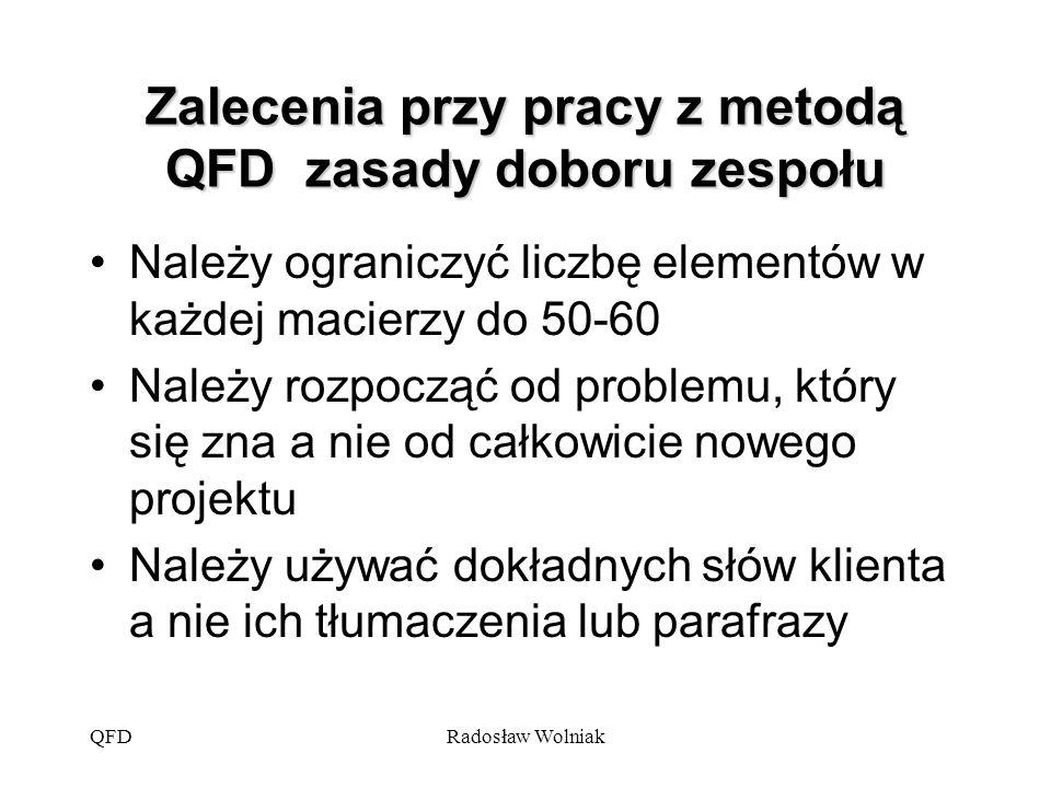QFDRadosław Wolniak Zalecenia przy pracy z metodą QFD zasady doboru zespołu Należy ograniczyć liczbę elementów w każdej macierzy do 50-60 Należy rozpo