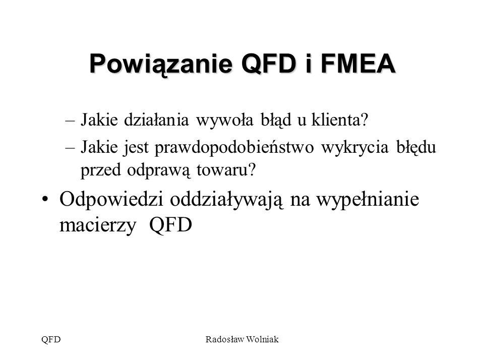 QFDRadosław Wolniak Powiązanie QFD i FMEA –Jakie działania wywoła błąd u klienta? –Jakie jest prawdopodobieństwo wykrycia błędu przed odprawą towaru?