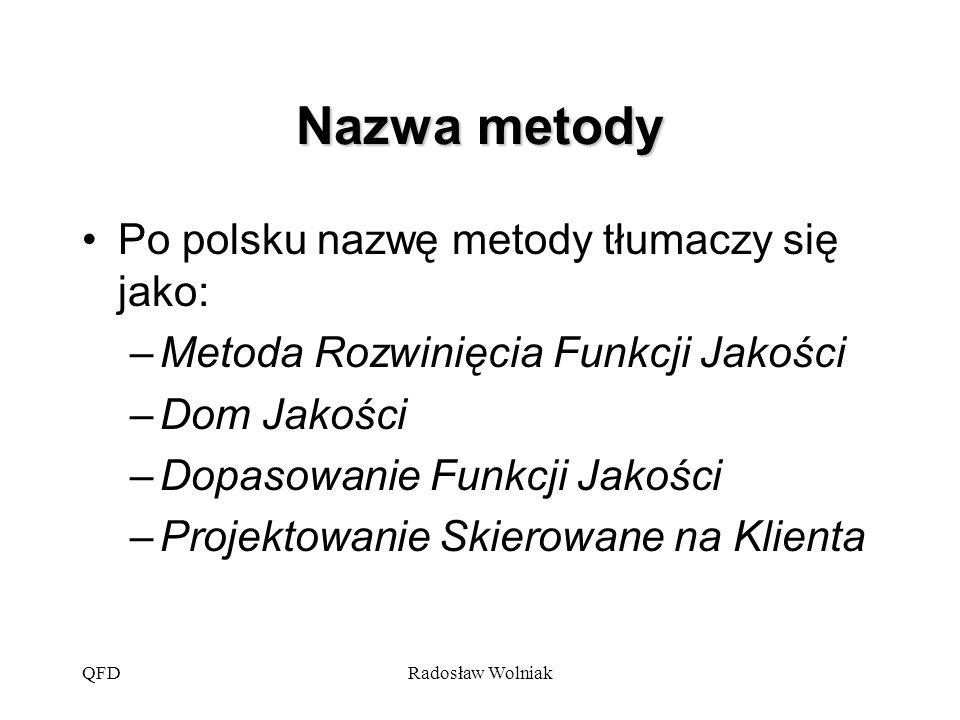 QFDRadosław Wolniak Nazwa metody Po polsku nazwę metody tłumaczy się jako: –Metoda Rozwinięcia Funkcji Jakości –Dom Jakości –Dopasowanie Funkcji Jakoś
