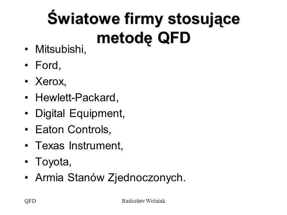 QFDRadosław Wolniak Definicja metody QFD QFD jest to system niezbędny dla przełożenia wymagań klienta na odpowiednie wymagania przedsiębiorstwa na każdym etapie, począwszy od badań i rozwoju, poprzez projektowanie i produkcję, aż po marketing, sprzedaż i dystrybucję.