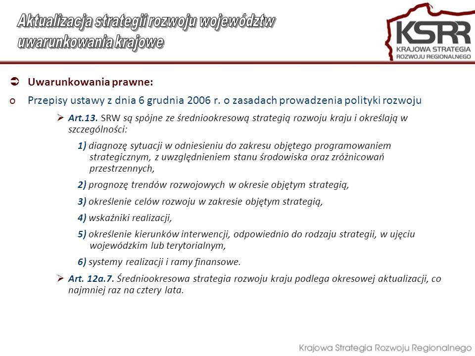  Uwarunkowania prawne: oPrzepisy ustawy z dnia 6 grudnia 2006 r.