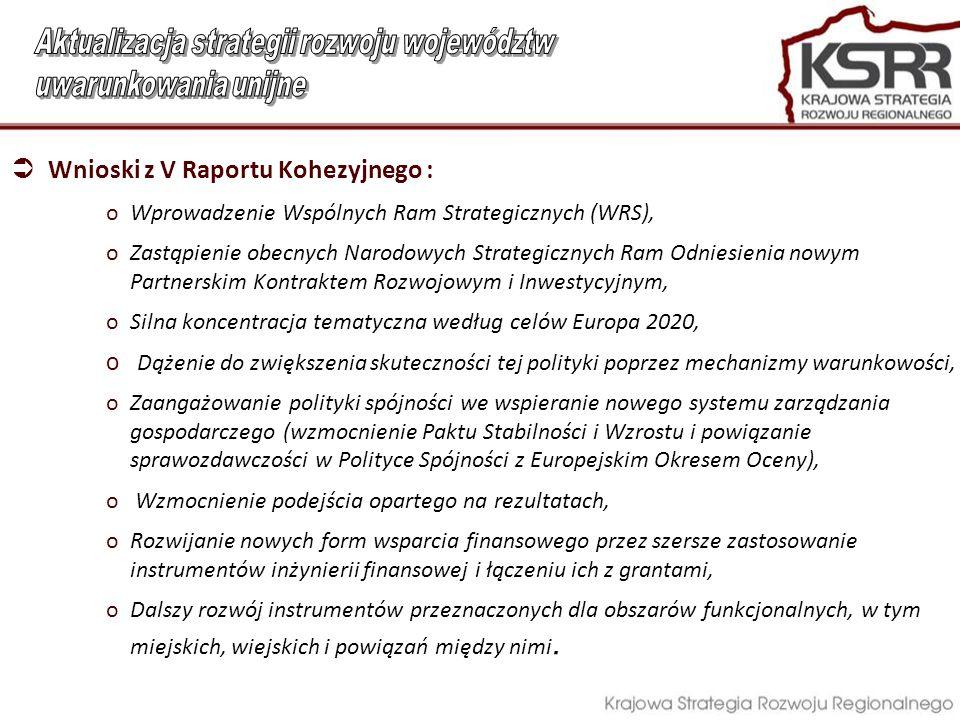  Wnioski z V Raportu Kohezyjnego : oWprowadzenie Wspólnych Ram Strategicznych (WRS), oZastąpienie obecnych Narodowych Strategicznych Ram Odniesienia nowym Partnerskim Kontraktem Rozwojowym i Inwestycyjnym, oSilna koncentracja tematyczna według celów Europa 2020, o Dążenie do zwiększenia skuteczności tej polityki poprzez mechanizmy warunkowości, oZaangażowanie polityki spójności we wspieranie nowego systemu zarządzania gospodarczego (wzmocnienie Paktu Stabilności i Wzrostu i powiązanie sprawozdawczości w Polityce Spójności z Europejskim Okresem Oceny), o Wzmocnienie podejścia opartego na rezultatach, oRozwijanie nowych form wsparcia finansowego przez szersze zastosowanie instrumentów inżynierii finansowej i łączeniu ich z grantami, oDalszy rozwój instrumentów przeznaczonych dla obszarów funkcjonalnych, w tym miejskich, wiejskich i powiązań między nimi.