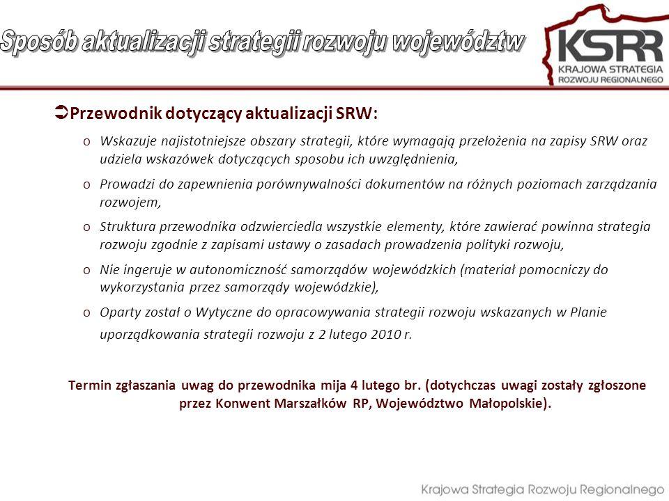  Przewodnik dotyczący aktualizacji SRW: oWskazuje najistotniejsze obszary strategii, które wymagają przełożenia na zapisy SRW oraz udziela wskazówek dotyczących sposobu ich uwzględnienia, oProwadzi do zapewnienia porównywalności dokumentów na różnych poziomach zarządzania rozwojem, oStruktura przewodnika odzwierciedla wszystkie elementy, które zawierać powinna strategia rozwoju zgodnie z zapisami ustawy o zasadach prowadzenia polityki rozwoju, oNie ingeruje w autonomiczność samorządów wojewódzkich (materiał pomocniczy do wykorzystania przez samorządy wojewódzkie), oOparty został o Wytyczne do opracowywania strategii rozwoju wskazanych w Planie uporządkowania strategii rozwoju z 2 lutego 2010 r.