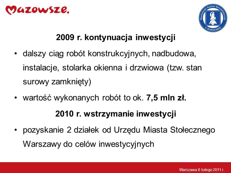 2009 r. kontynuacja inwestycji dalszy ciąg robót konstrukcyjnych, nadbudowa, instalacje, stolarka okienna i drzwiowa (tzw. stan surowy zamknięty) wart