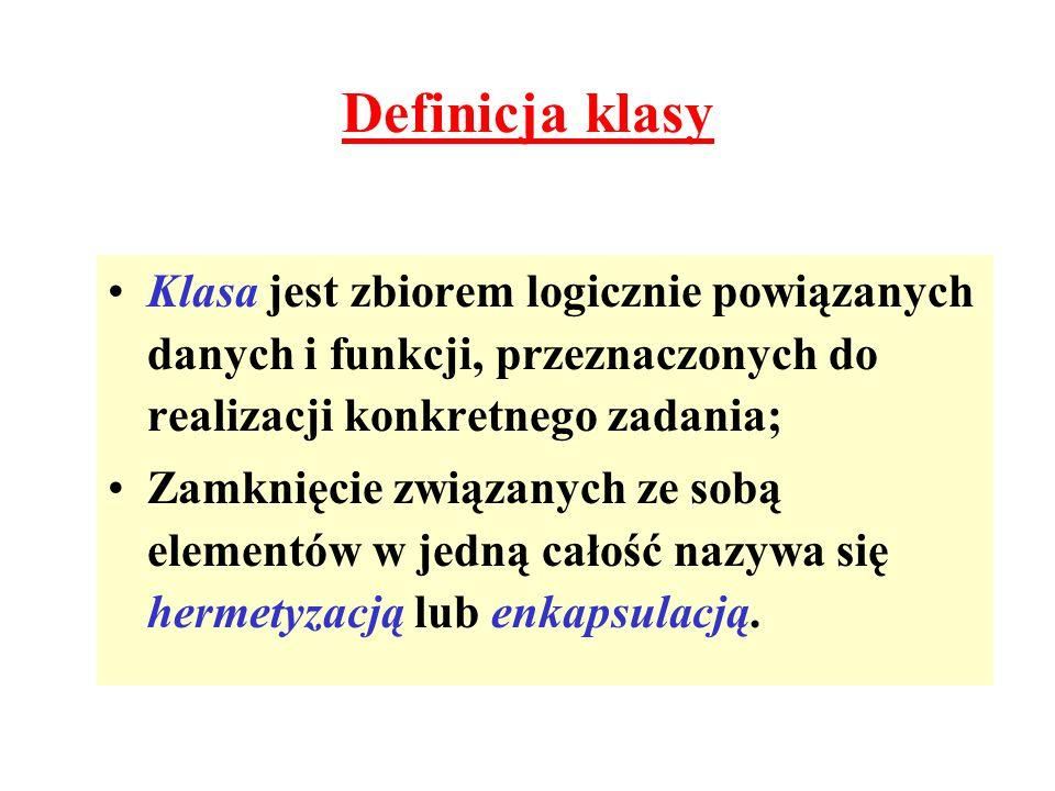 Definicja klasy Klasa jest zbiorem logicznie powiązanych danych i funkcji, przeznaczonych do realizacji konkretnego zadania; Zamknięcie związanych ze