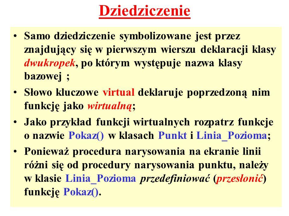 Dziedziczenie Samo dziedziczenie symbolizowane jest przez znajdujący się w pierwszym wierszu deklaracji klasy dwukropek, po którym występuje nazwa kla