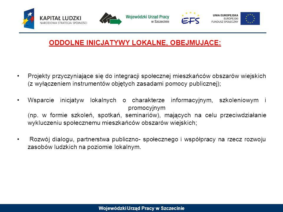 Wojewódzki Urząd Pracy w Szczecinie ODDOLNE INICJATYWY LOKALNE, OBEJMUJĄCE: Projekty przyczyniające się do integracji społecznej mieszkańców obszarów wiejskich (z wyłączeniem instrumentów objętych zasadami pomocy publicznej); Wsparcie inicjatyw lokalnych o charakterze informacyjnym, szkoleniowym i promocyjnym (np.