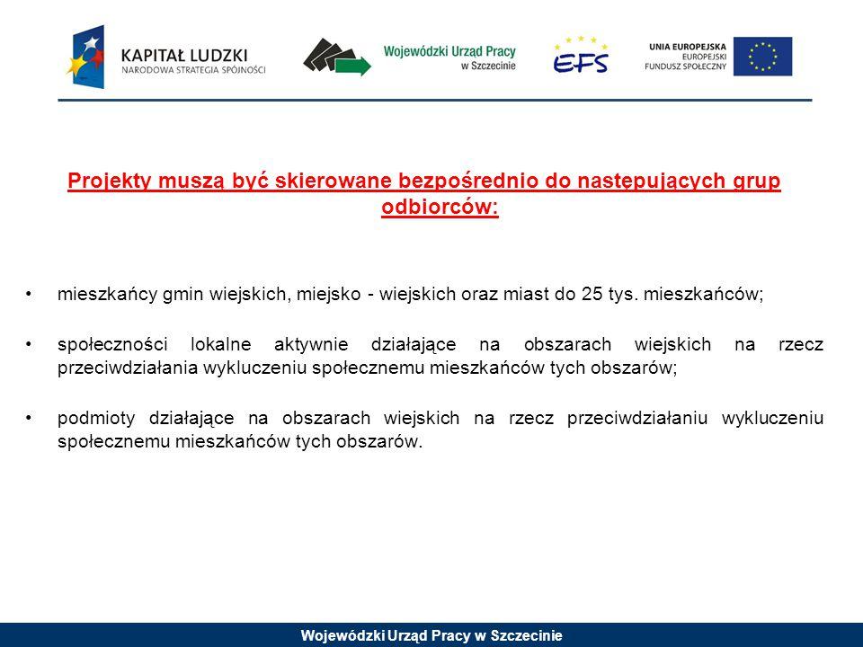 Wojewódzki Urząd Pracy w Szczecinie Projekty muszą być skierowane bezpośrednio do następujących grup odbiorców: mieszkańcy gmin wiejskich, miejsko - wiejskich oraz miast do 25 tys.