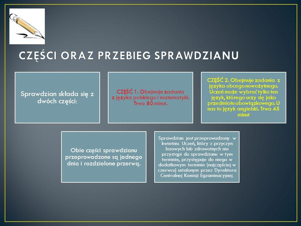 Sprawdzian składa się z dwóch części: CZĘŚĆ 1. Obejmuje zadania z języka polskiego i matematyki.