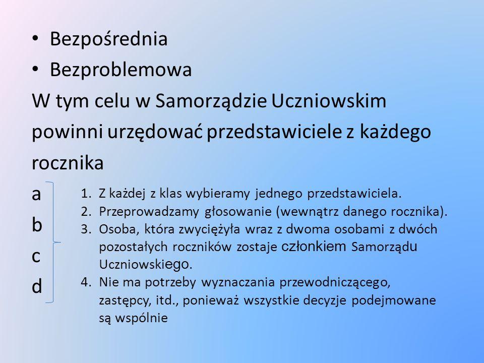 Bezpośrednia Bezproblemowa W tym celu w Samorządzie Uczniowskim powinni urzędować przedstawiciele z każdego rocznika a b c d 1.Z każdej z klas wybieramy jednego przedstawiciela.