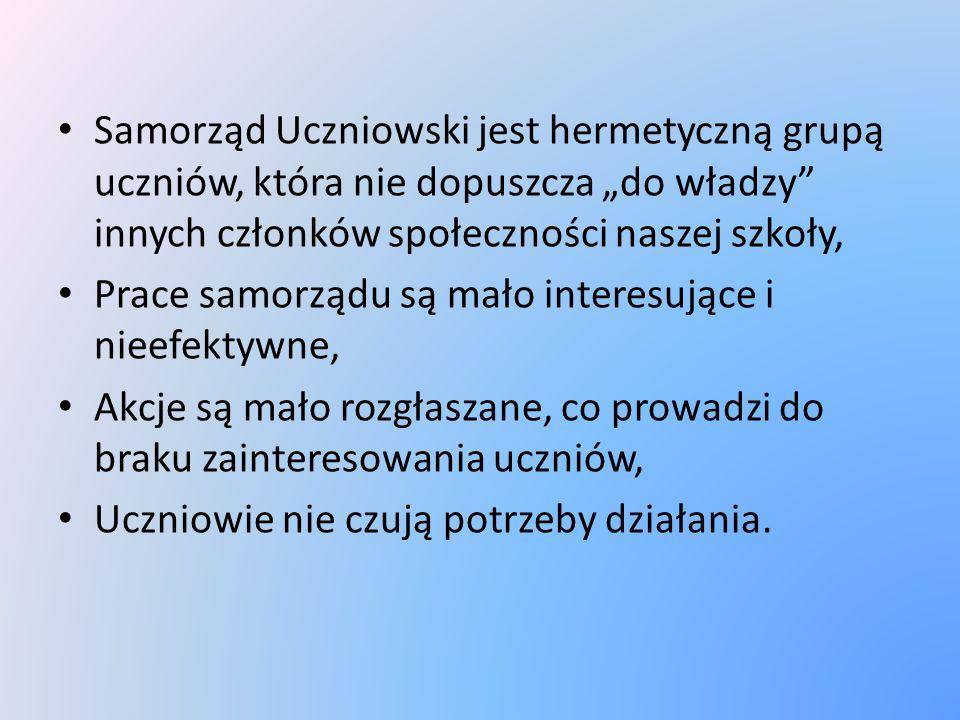 """Samorząd Uczniowski jest hermetyczną grupą uczniów, która nie dopuszcza """"do władzy"""" innych członków społeczności naszej szkoły, Prace samorządu są mał"""