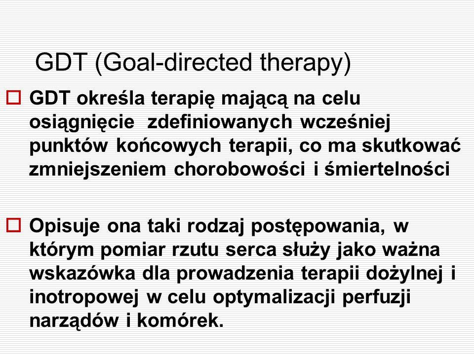 GDT (Goal-directed therapy)  GDT określa terapię mającą na celu osiągnięcie zdefiniowanych wcześniej punktów końcowych terapii, co ma skutkować zmnie