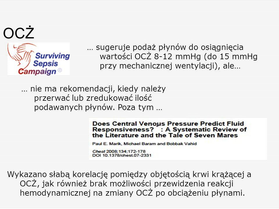 OCŻ … sugeruje podaż płynów do osiągnięcia wartości OCŻ 8-12 mmHg (do 15 mmHg przy mechanicznej wentylacji), ale… … nie ma rekomendacji, kiedy należy
