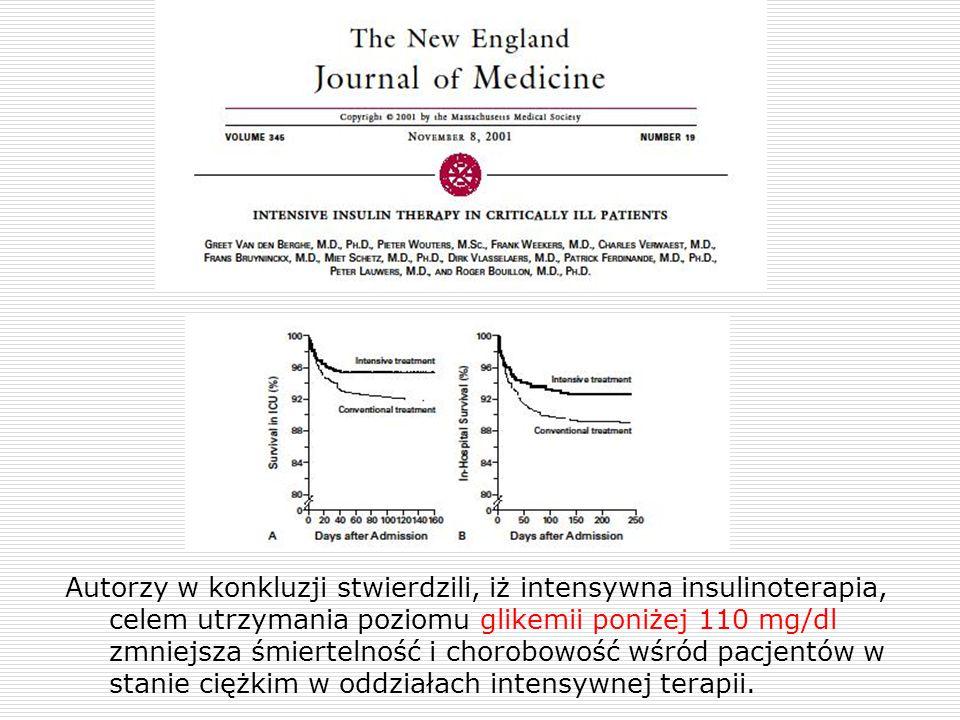 Autorzy w konkluzji stwierdzili, iż intensywna insulinoterapia, celem utrzymania poziomu glikemii poniżej 110 mg/dl zmniejsza śmiertelność i chorobowo