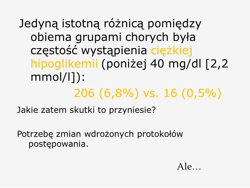 Jedyną istotną różnicą pomiędzy obiema grupami chorych była częstość wystąpienia ciężkiej hipoglikemii (poniżej 40 mg/dl [2,2 mmol/l]): 206 (6,8%) vs.