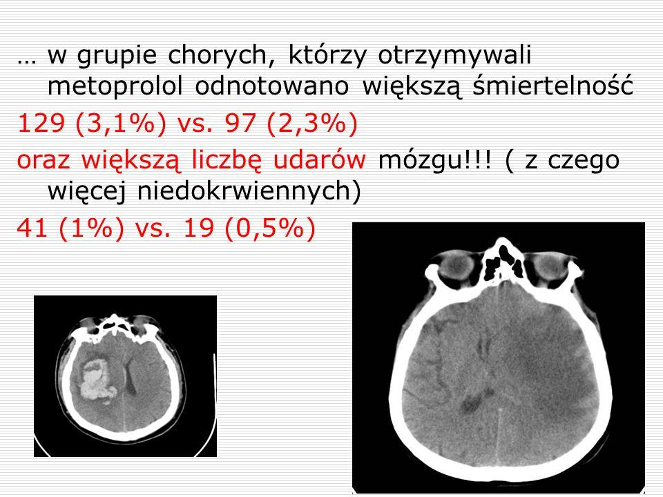 … w grupie chorych, którzy otrzymywali metoprolol odnotowano większą śmiertelność 129 (3,1%) vs. 97 (2,3%) oraz większą liczbę udarów mózgu!!! ( z cze